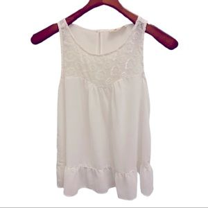 Hollister sheer pattern tank size small white lace